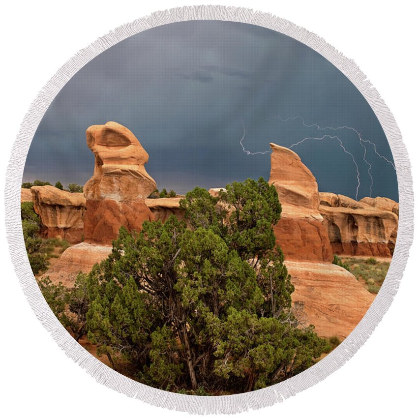 North America Round Beach Towel featuring the photograph Lightning Devils Garden Escalante Grand Staircase Nm Utah by Dave Welling