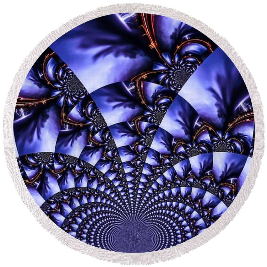 Abstract Round Beach Towel featuring the photograph Lightning Illusion 7 by Jesse Post