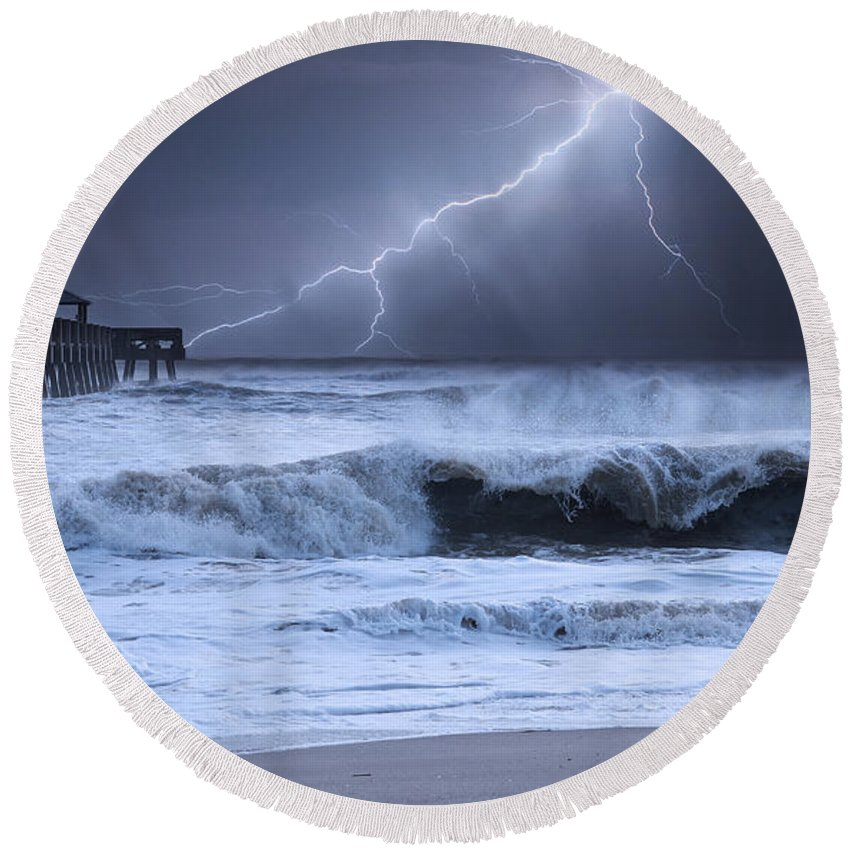 Beach Round Beach Towel featuring the photograph Lightning Strike by Laura Fasulo
