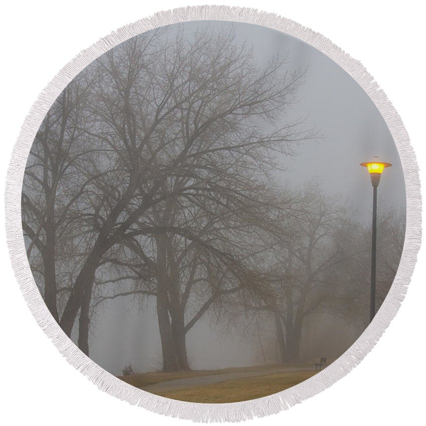 Fog Round Beach Towel featuring the photograph Lights And Fog Setting The Mood by James BO Insogna