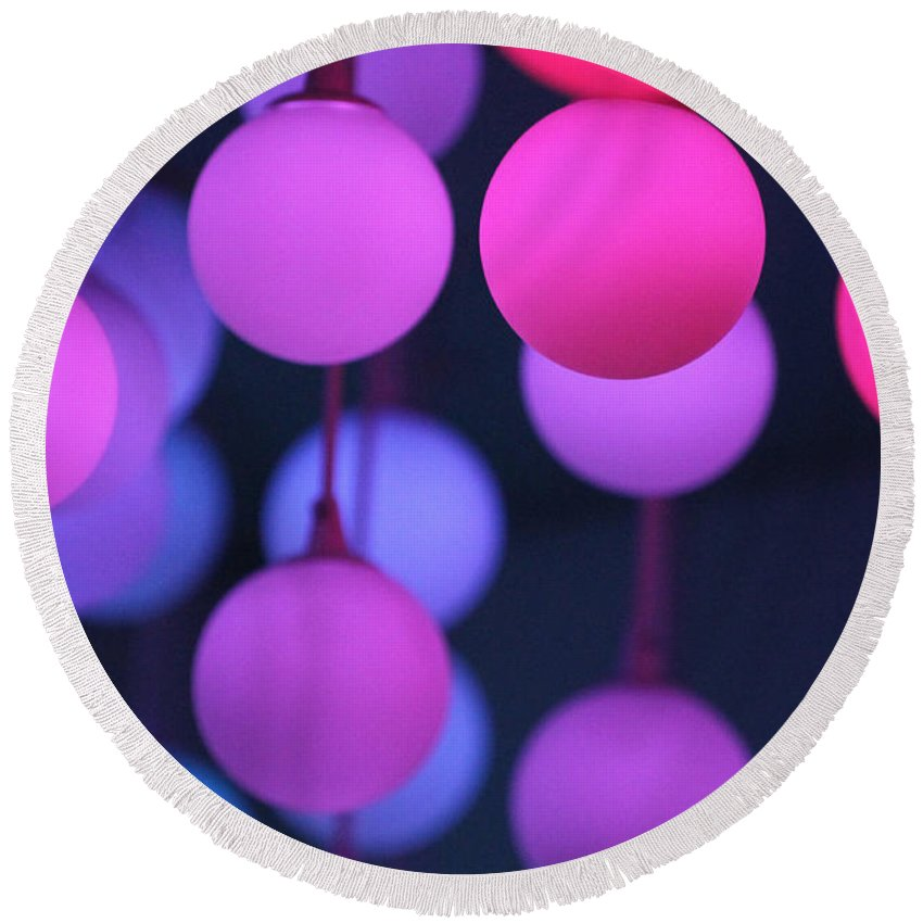 Light Lights Lamb Color Colorful Love Photograph Pink Red Blue Violet Warm Ball Erotic Round Beach Towel featuring the photograph Lights Of Love by Steve K