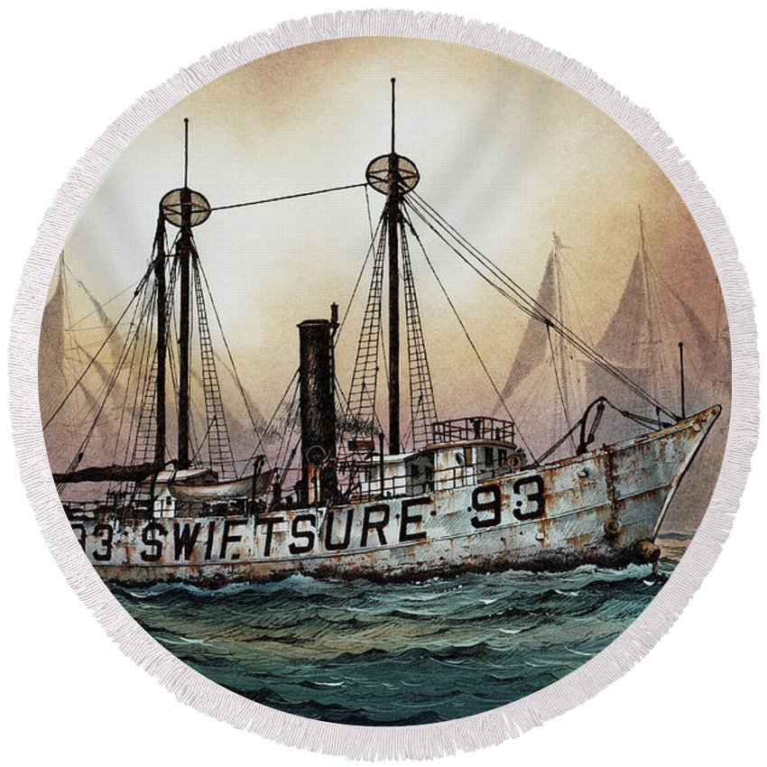 Lighthouse Fine Art Print Round Beach Towel featuring the painting Lightship Swiftsure by James Williamson