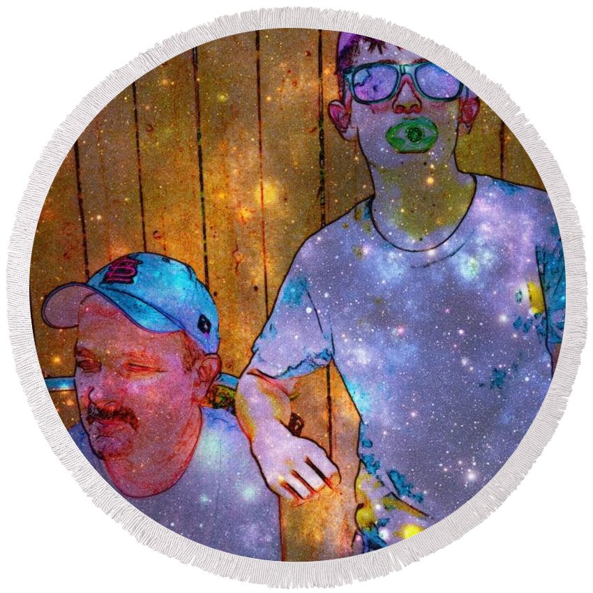 Round Beach Towel featuring the photograph Like Father Like Son 2 by Kelly Awad