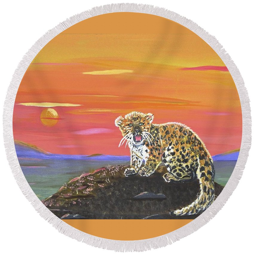 Lil' Leopard Round Beach Towel featuring the painting Lil' Leopard by Phyllis Kaltenbach