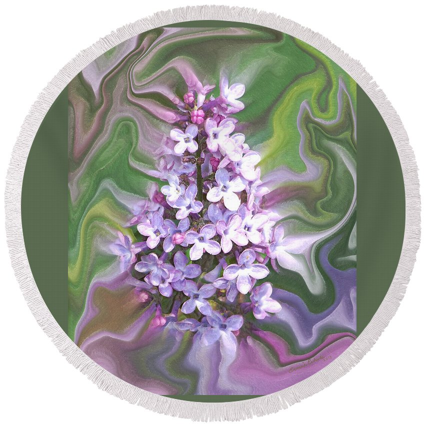 Lilac Abstract Round Beach Towel featuring the digital art Lilac Abstract by Ernie Echols
