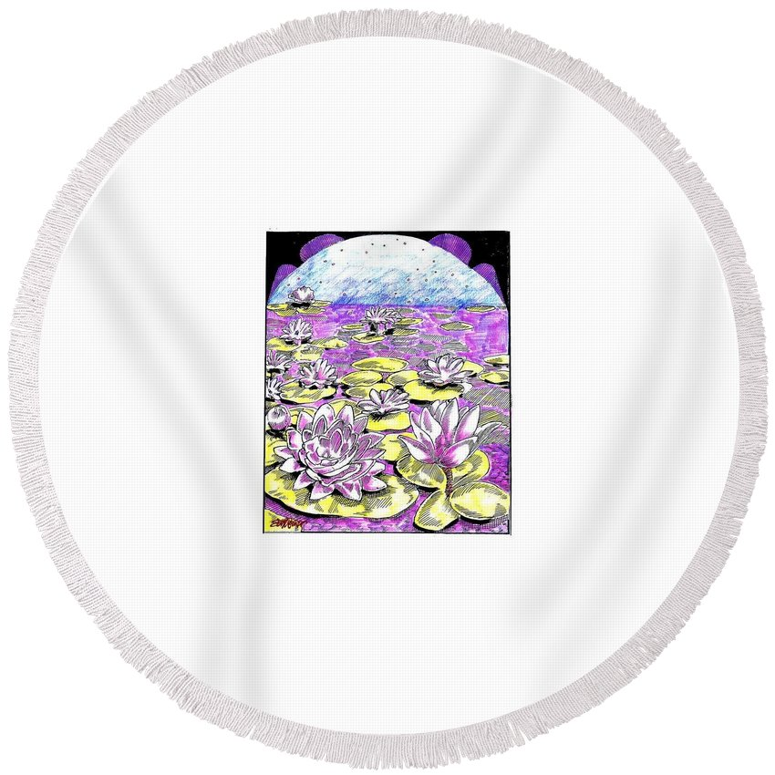 Lilies Of The Lake Round Beach Towel featuring the drawing Lilies Of The Lake by Seth Weaver