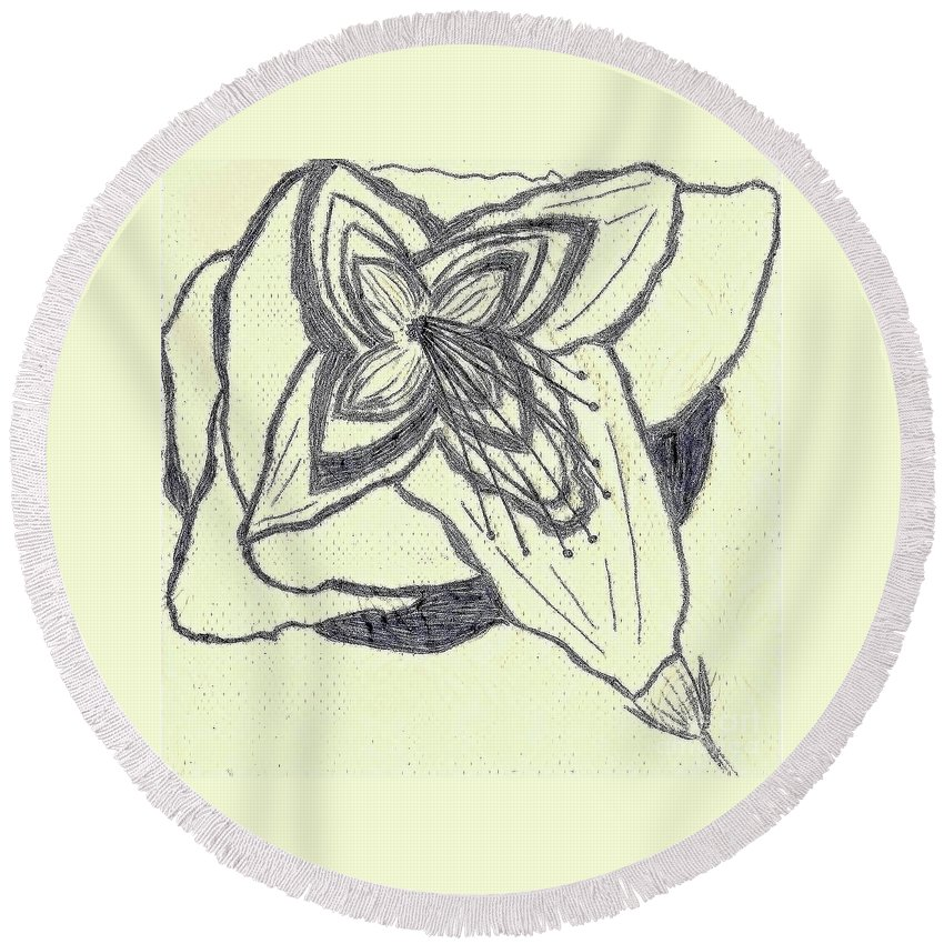 Southern Round Beach Towel featuring the drawing Lilly Artistic Doodling Drawing by Joseph Baril