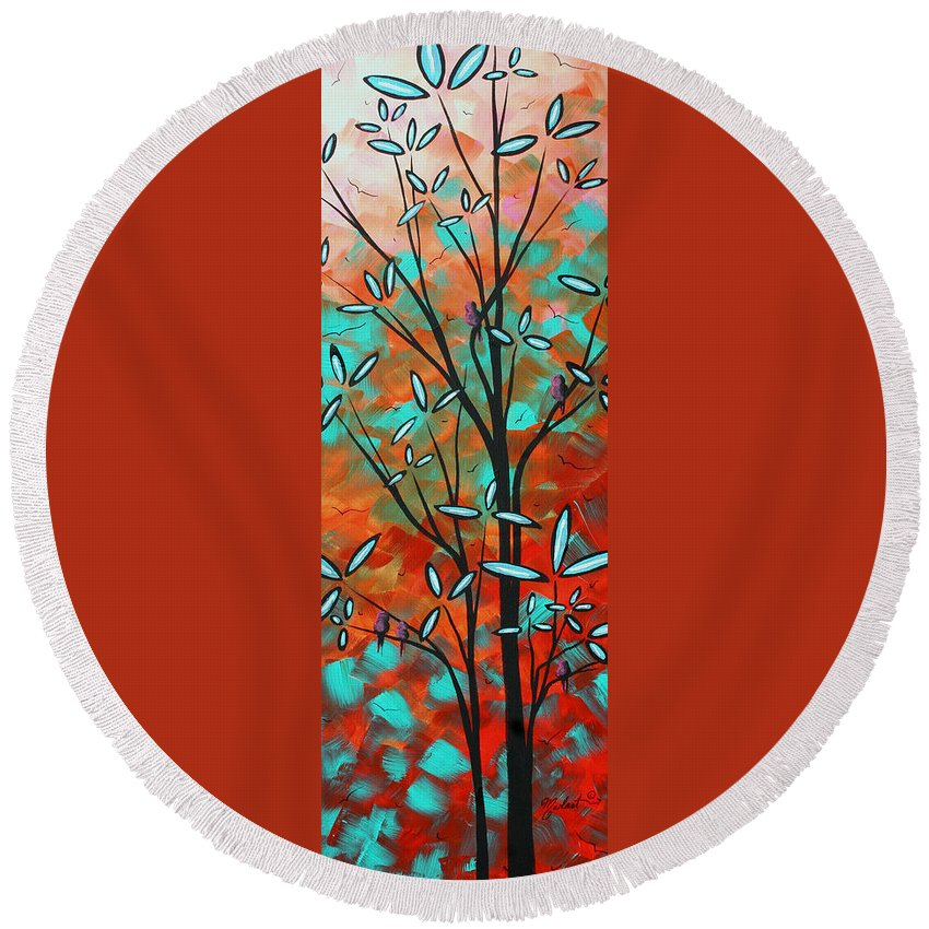 Art Round Beach Towel featuring the painting Lilly Pulitzer Inspired Abstract Art Colorful Original Painting Spring Blossoms By Madart by Megan Duncanson