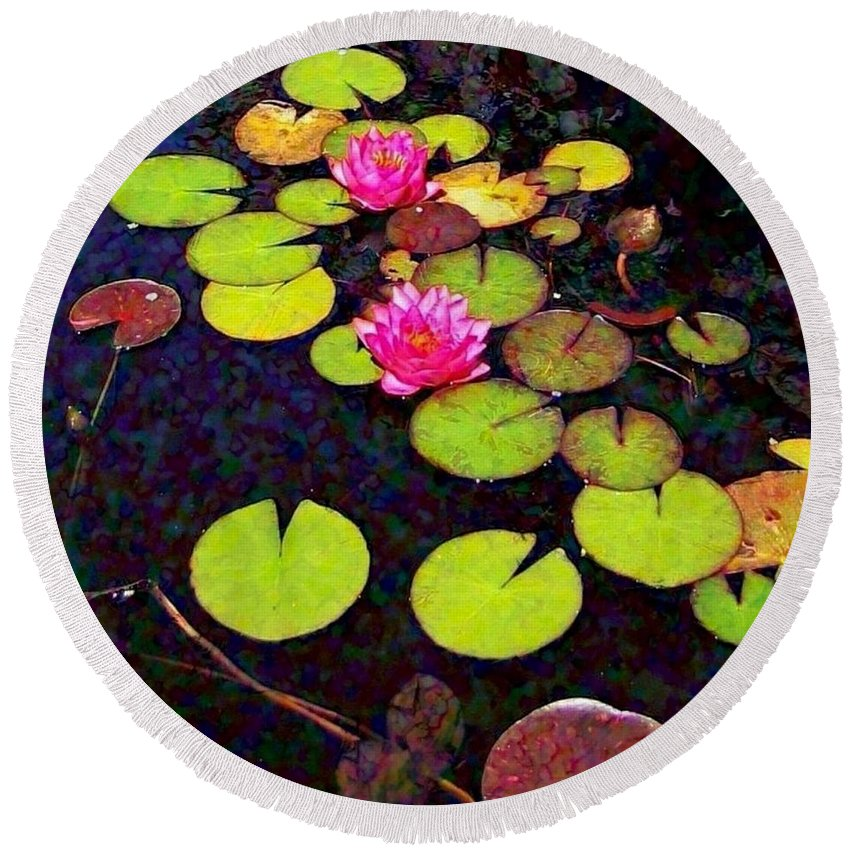 Sharkcrossing Round Beach Towel featuring the painting Lily Pads With Pink Flowers - Square by Lyn Voytershark