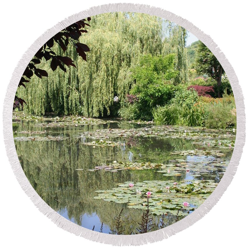 Liliy Round Beach Towel featuring the photograph Lily Pond - Monets Garden - France by Christiane Schulze Art And Photography