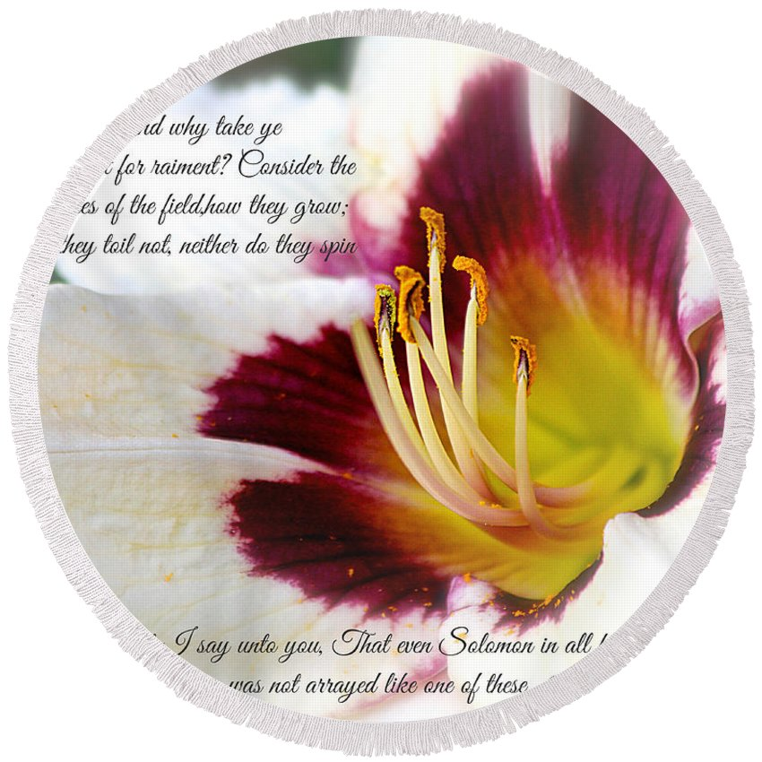 #lily Round Beach Towel featuring the photograph Lily With Scripture by Debbie Nobile