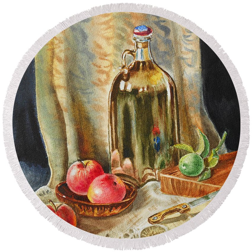 Apple Round Beach Towel featuring the painting Lime And Apples Still Life by Irina Sztukowski