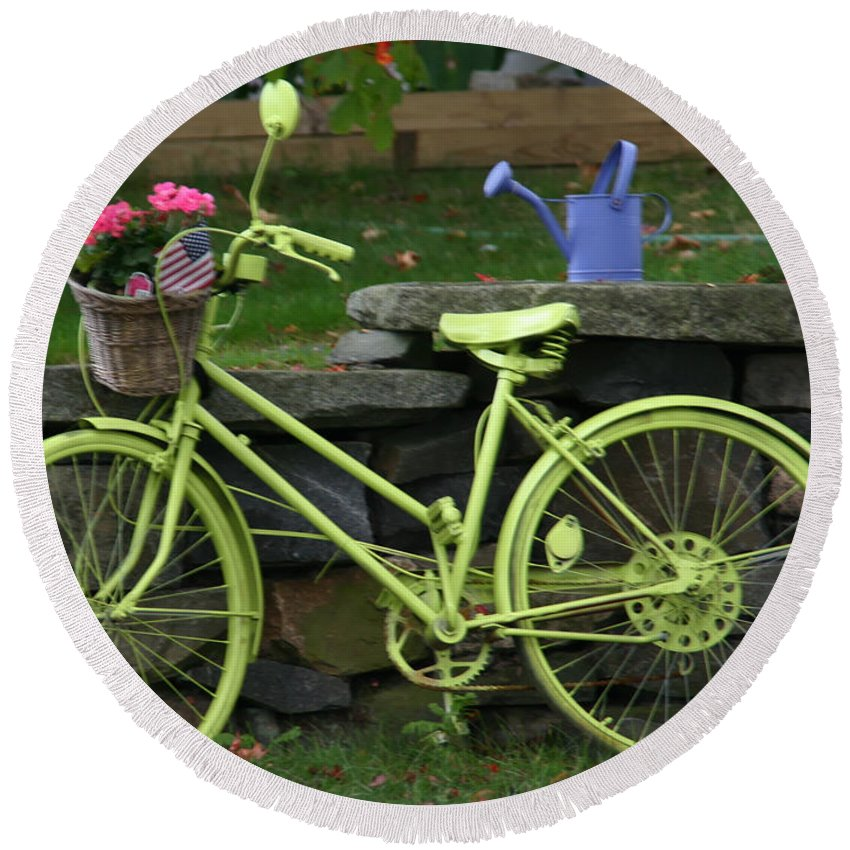 Lime Green Bike Round Beach Towel featuring the photograph Lime Green Bike by Denyse Duhaime