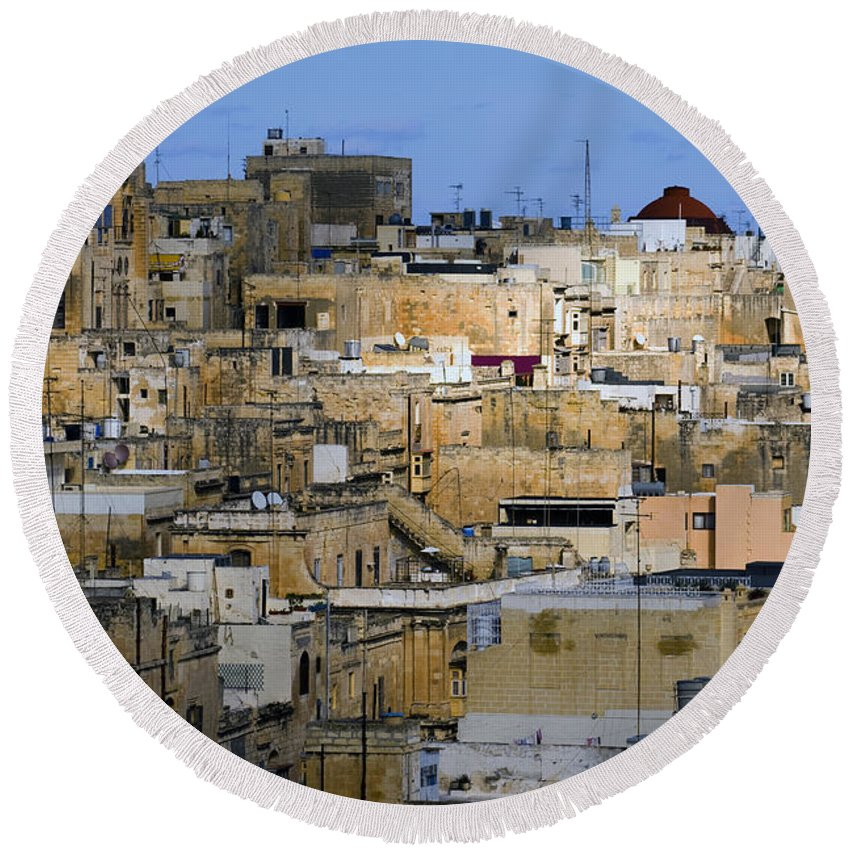 Limestone Buildings Round Beach Towel featuring the photograph Limestone Buildings In Malta by Tim Holt