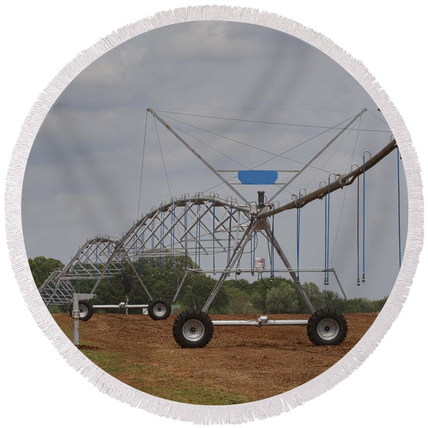 Irrigation Round Beach Towel featuring the photograph Limestone County Crop Irrigation by Kathy Clark