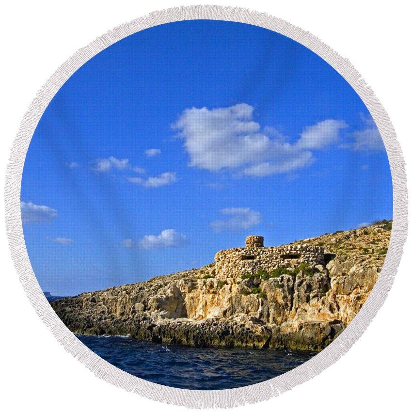 Hills Round Beach Towel featuring the photograph Limestone Rock, Mediterranean Sea, Malta by Tim Holt