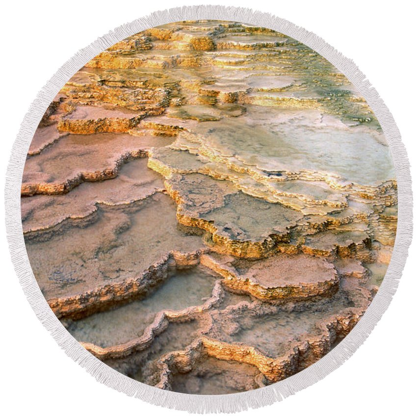 North America Round Beach Towel featuring the photograph Limestone Terraces Yellowstone National Park by Dave Welling