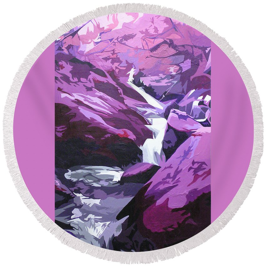 Creek Round Beach Towel featuring the painting Limpy Creek by Joshua Morton