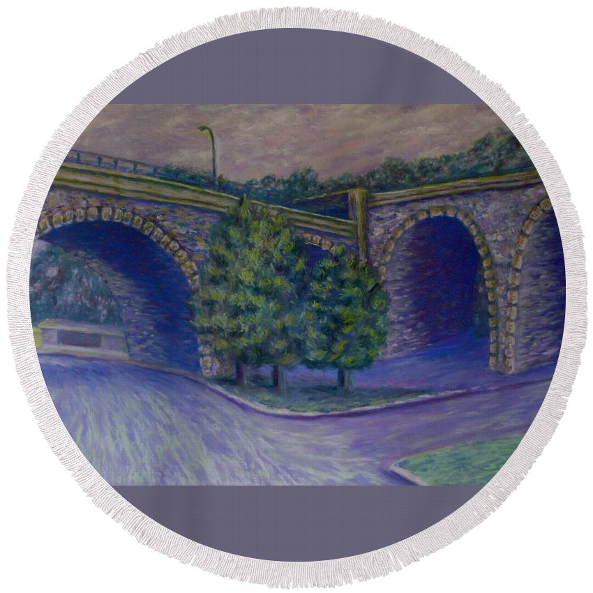 Pastel Round Beach Towel featuring the pastel Lincoln Ave Bridge Pittsburgh by Joann Renner