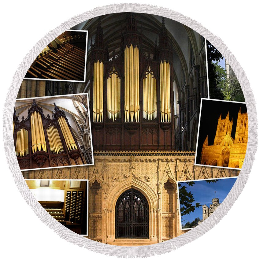 Lincoln Round Beach Towel featuring the photograph Lincoln Cathedral by Jenny Setchell