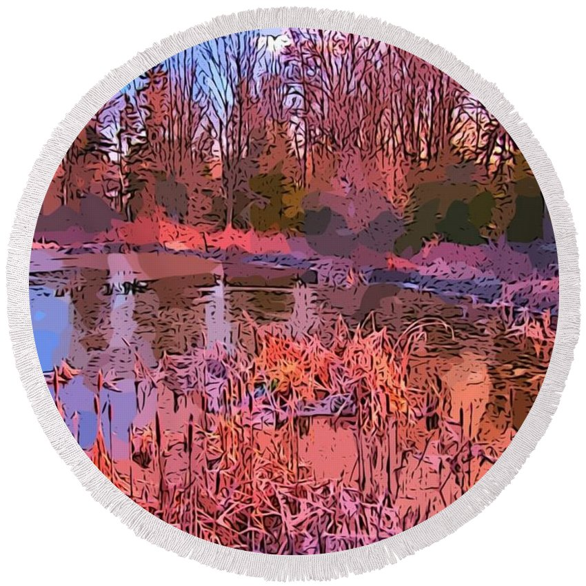 Landscape Round Beach Towel featuring the painting Linear Abstraction Of Pond by John Malone