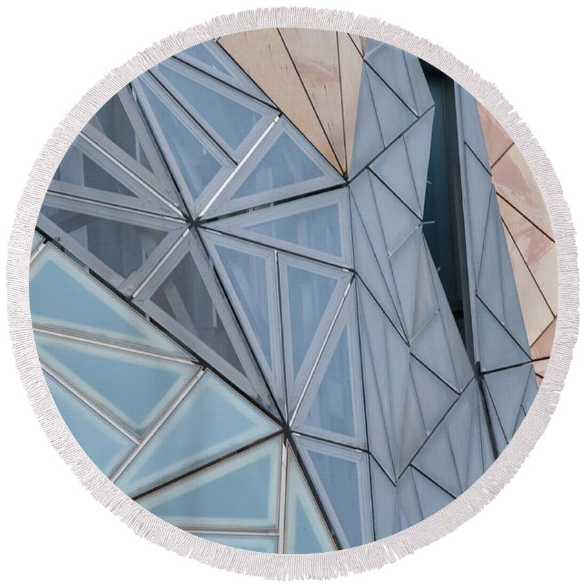 Melbourne Australia Federation Square Building Buildings Structure Structures City Cities Cityscape Window Windows Cityscapes Architecture Bates Smart Round Beach Towel featuring the photograph Lines - Shapes - Colors by Bob Phillips