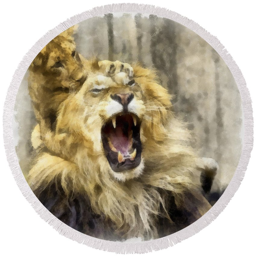 Aquarell Round Beach Towel featuring the photograph Lion 15 by Ingrid Smith-Johnsen