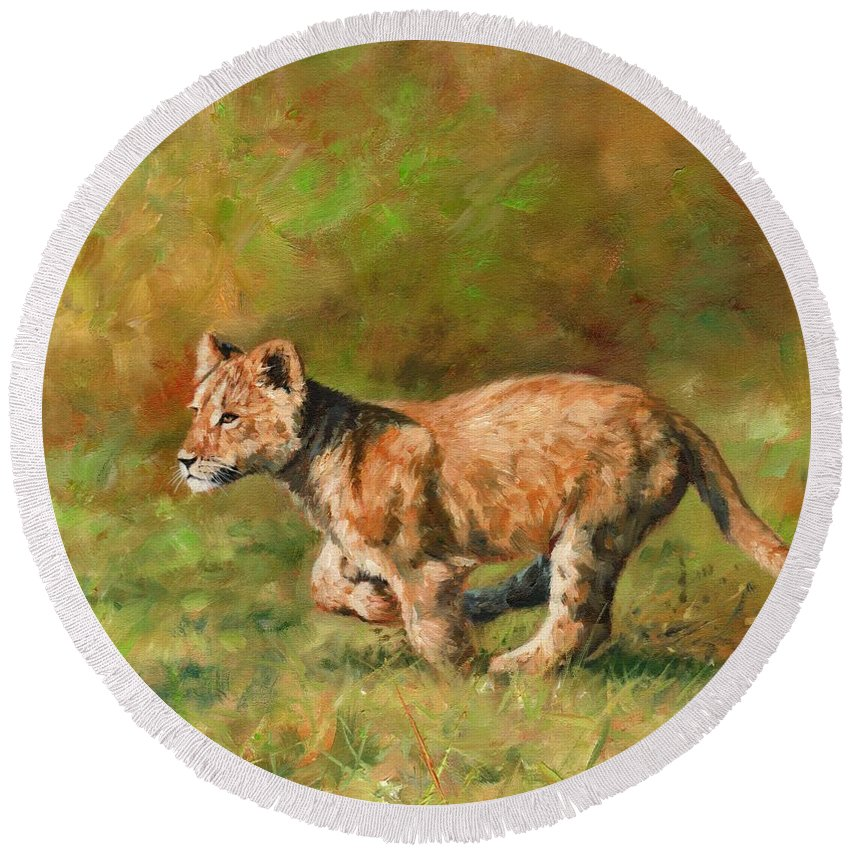 Lion Round Beach Towel featuring the painting Lion Cub Running by David Stribbling