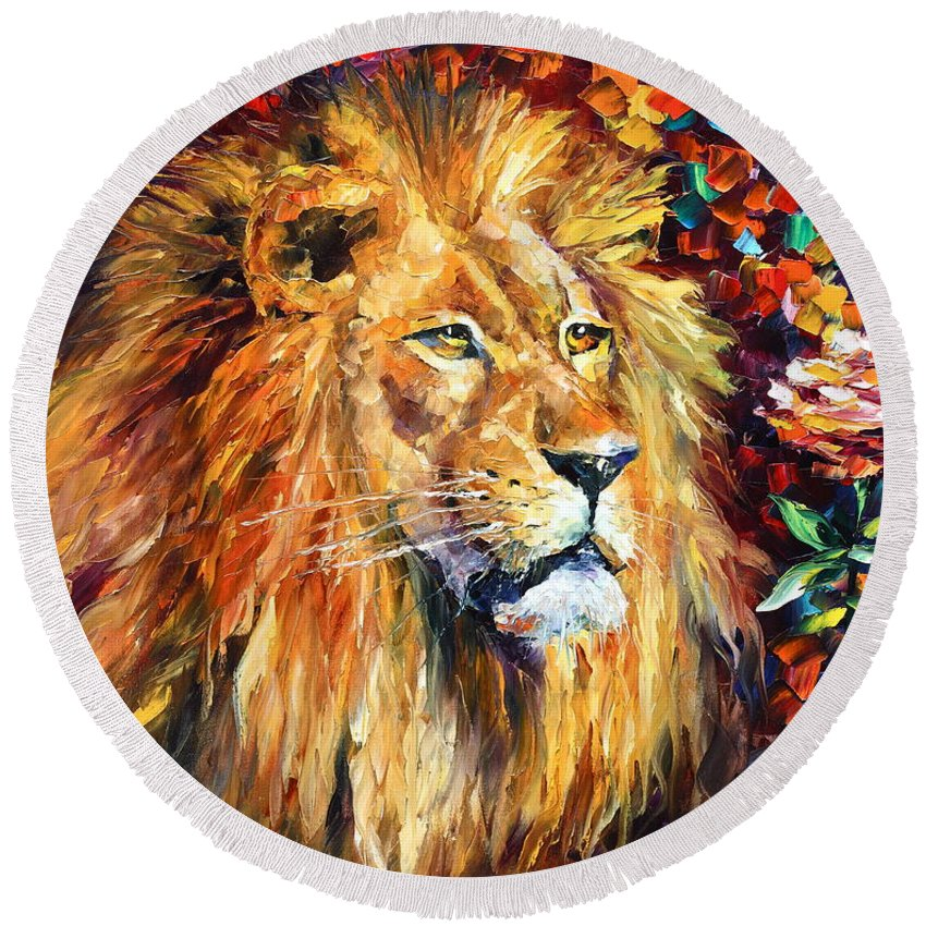 Afremov Round Beach Towel featuring the painting Lion by Leonid Afremov