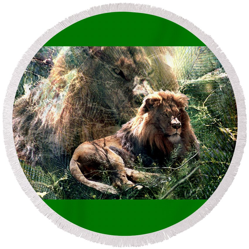 Lion Round Beach Towel featuring the digital art Lion Spirit by Lisa Yount
