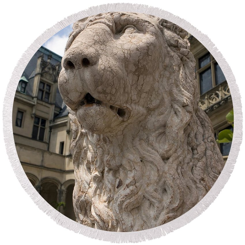 Biltmore Estate Round Beach Towel featuring the photograph Lion Statue Biltmore Estate Asheville North Carolina by Jason O Watson