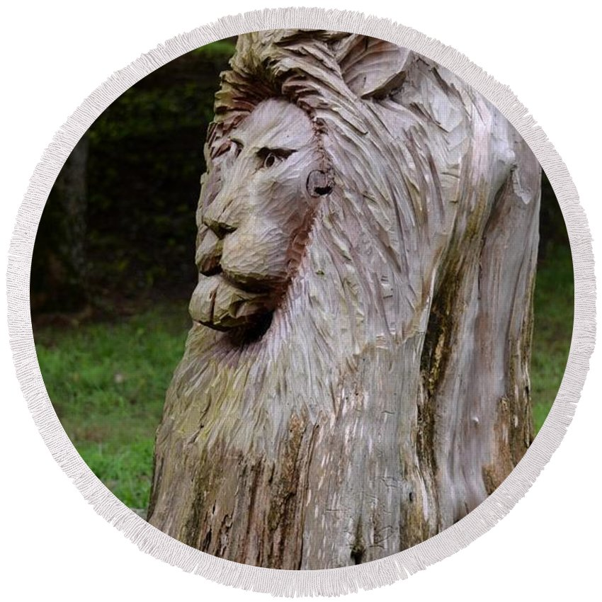 Lion Tree Round Beach Towel featuring the photograph Lion Tree by Maria Urso