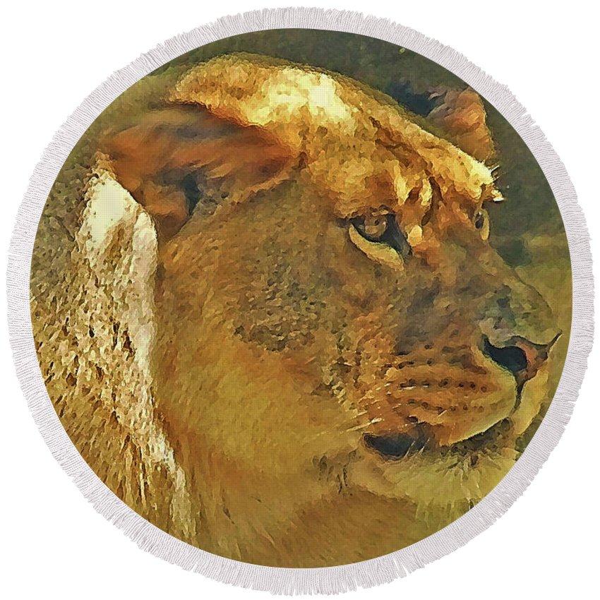 Digital Round Beach Towel featuring the digital art Lioness 2012 by Kathryn Strick