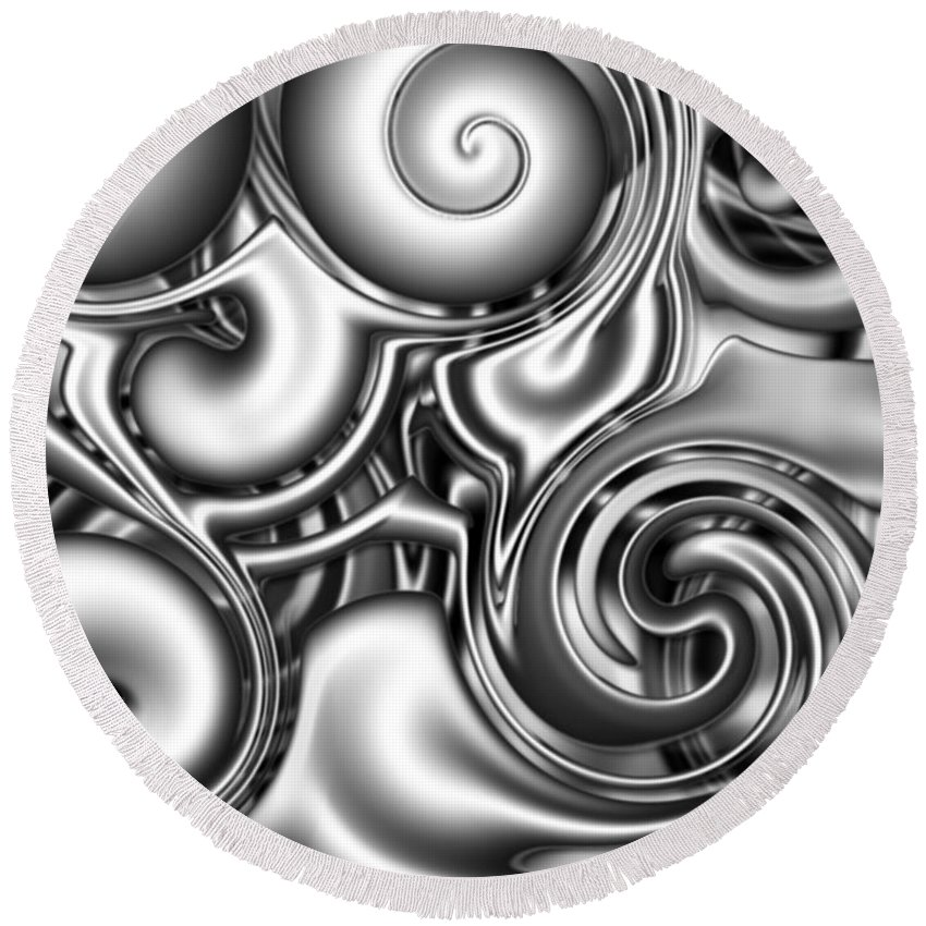Abstract Round Beach Towel featuring the digital art Liquid Metal by Ron Hedges