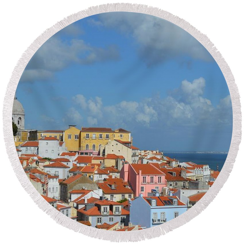 Lisbon Round Beach Towel featuring the photograph Lisbon Portugal by FL collection