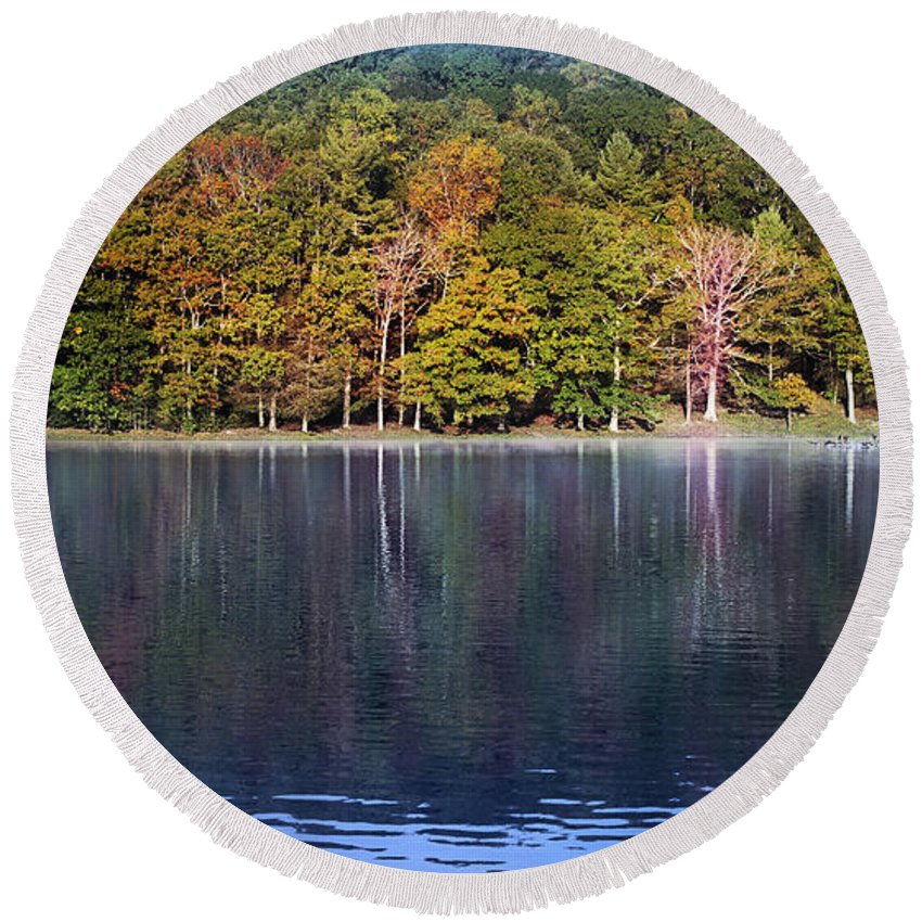Lake Photograph Round Beach Towel featuring the photograph Little Beaver Lake by Melissa Petrey