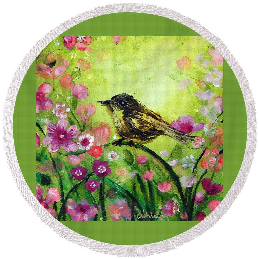 Bird Round Beach Towel featuring the painting Little Bird In Green by Ashleigh Dyan Bayer