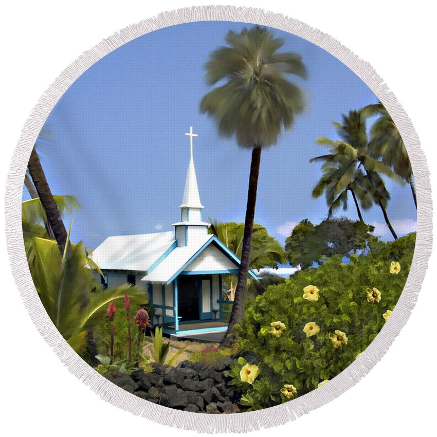 Hawaii Round Beach Towel featuring the photograph Little Blue Church Kona by Kurt Van Wagner