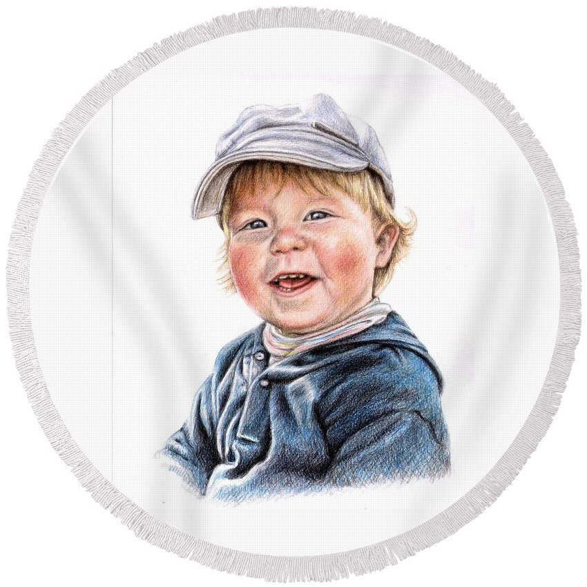 Boy Round Beach Towel featuring the drawing Little Boy by Nicole Zeug