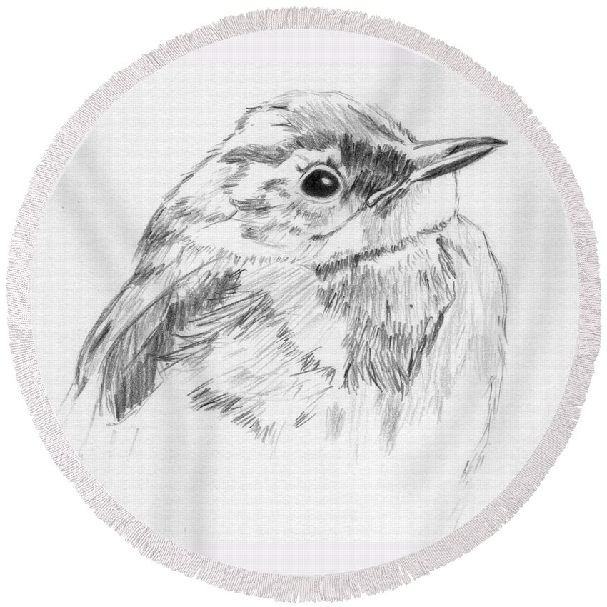 Bird Round Beach Towel featuring the drawing Little Buddy by Crystal Hubbard
