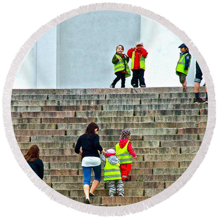 Little Children Climbing Steps Of Lutheran Cathedral Of Helsinki Round Beach Towel featuring the photograph Little Children Climbing Steps Of Lutheran Cathedral Of Helsinki-finland by Ruth Hager