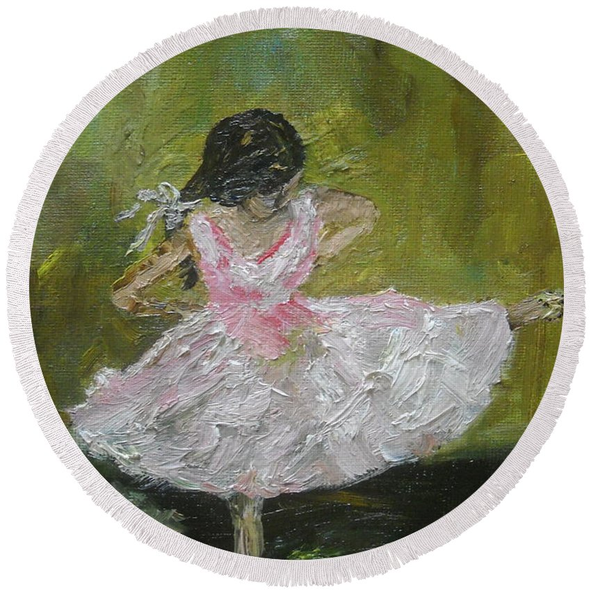 Girl Round Beach Towel featuring the painting Little Dansarina by Reina Resto