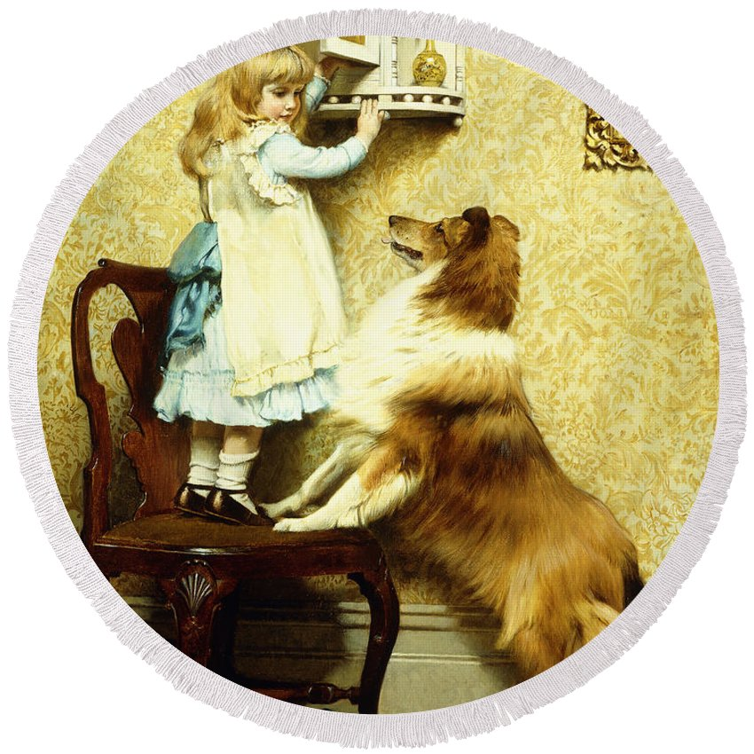 Little Girl And Her Sheltie Round Beach Towel featuring the painting Little Girl And Her Sheltie by Charles Burton Barber