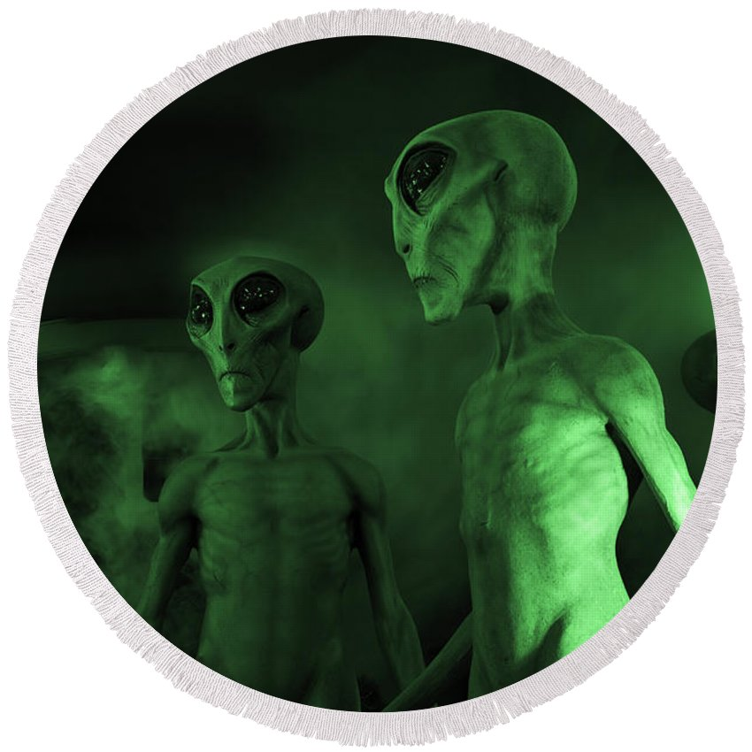 Ufo Round Beach Towel featuring the photograph Aliens And Ufo 6 by Bob Christopher