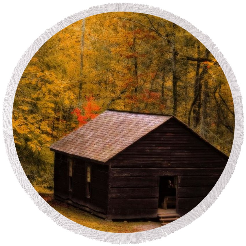 Little Greenbrier Schoolhouse In Autumn Round Beach Towel featuring the photograph Little Greenbrier Schoolhouse In Autumn by Dan Sproul
