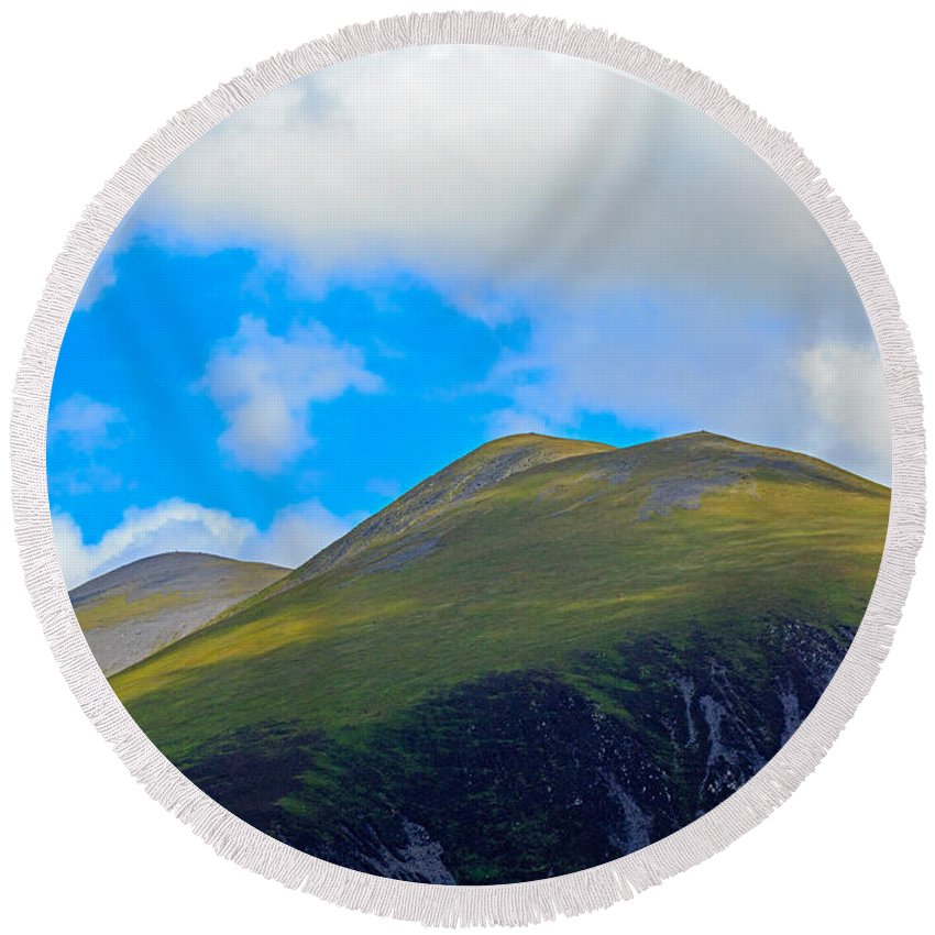 Little Man Round Beach Towel featuring the photograph Little Man Skiddaw And Ullock Pike by Louise Heusinkveld