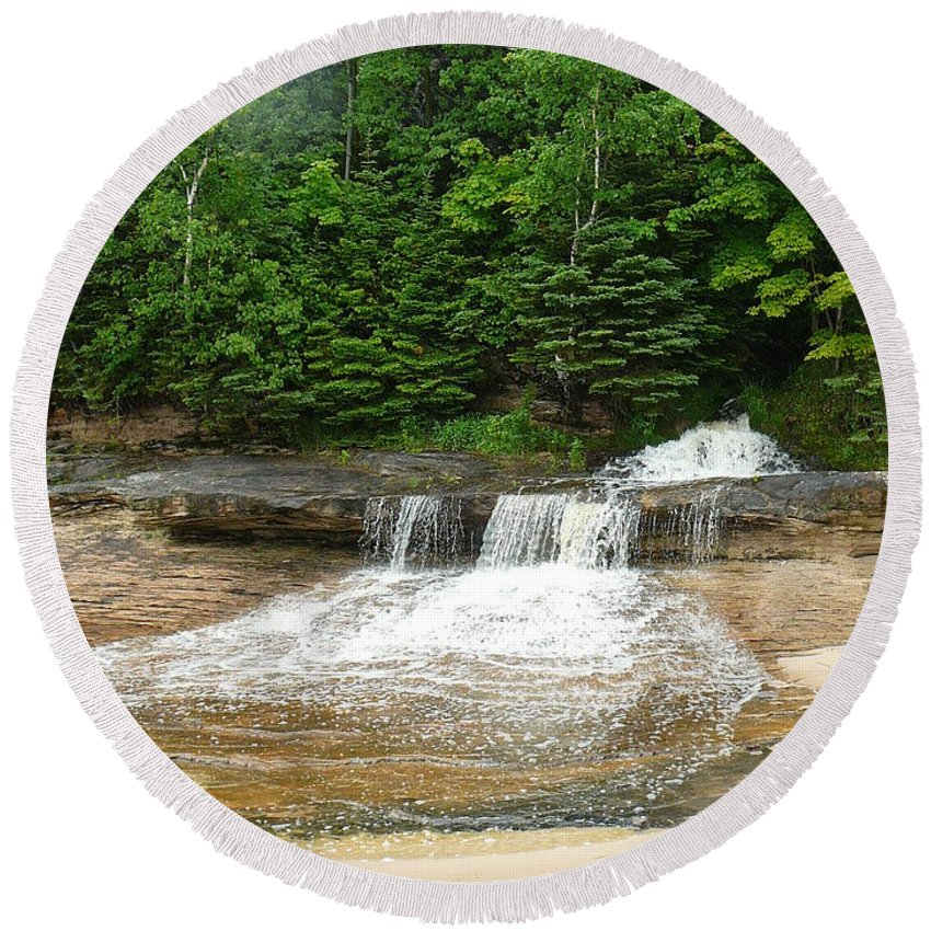 Upper Peninsula Round Beach Towel featuring the photograph Little Miner Falls by Two Bridges North