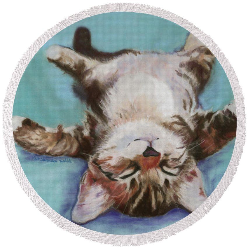Cat Painting Round Beach Towel featuring the pastel Little Napper by Pat Saunders-White