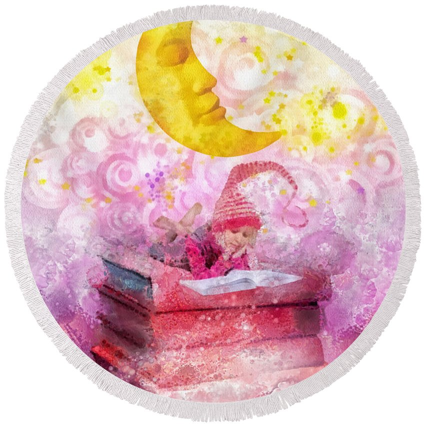 Little Reader Round Beach Towel featuring the painting Little Reader by Mo T