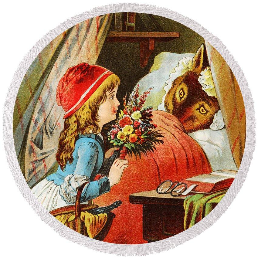 Carl Offterdinger Round Beach Towel featuring the digital art Little Red Riding Hood by Carl Offterdinger